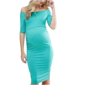 ASOS Teal Bardot maternity dress NWT